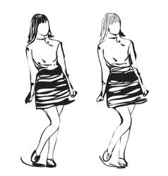 Fashion model sketch cartoon girl in the dress vector