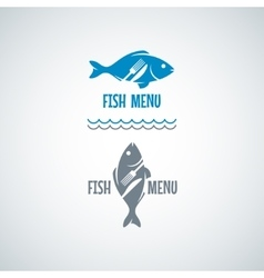 Fish food logo fork and knife background vector