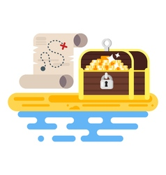 Flat style of treasure chest and map vector