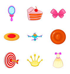 games for girls icons set cartoon style vector image vector image
