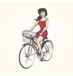 Girl on a bicycle vector image