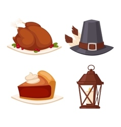 Happy thanksgiving day set vector