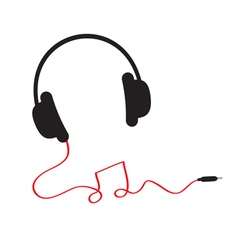 Headphones red cord in shape of note Flat vector image vector image