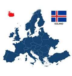map of europe with highlighted iceland vector image
