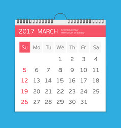 March calendar template vector