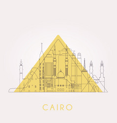 Outline cairo skyline with landmarks vector