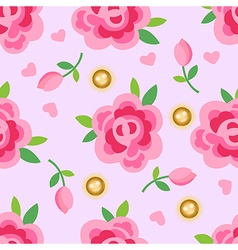 Pink roses gold pearls seamless background vector