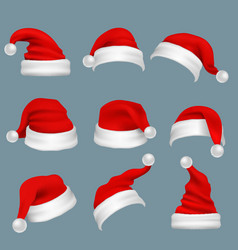 Realistic christmas santa claus red hats isolated vector