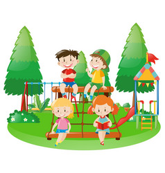 scene with four kids on climbing station vector image