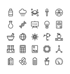 Science and technology line icons 18 vector