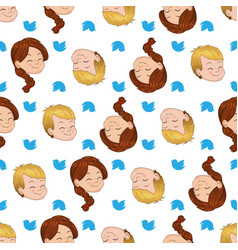 Seamless pattern with smiling boy and girl vector