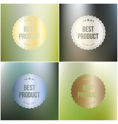 Set of best product labels isolated on blurred vector image