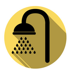 Shower sign flat black icon with flat vector