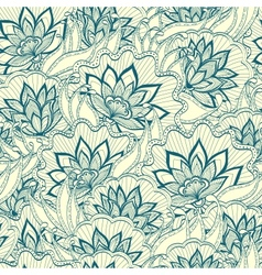 Spring pattern with handdrawn flowers vector image