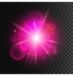 Star light with pink neon lens flare effect vector