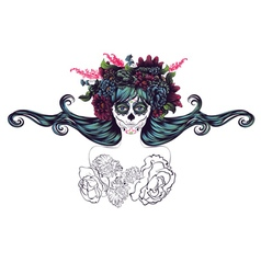 Sugar skull girl in flower crown7 vector