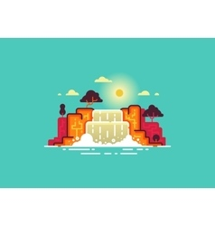 Summer landscape waterfall vector