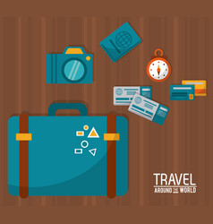 Travel around the world blue suitcase tickets vector