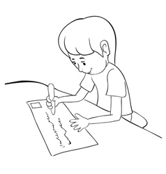 writing boy outline vector image