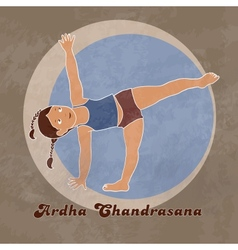 Yoga half moon pose vector