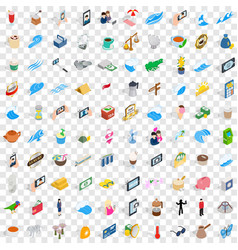 100 singapore icons set isometric 3d style vector