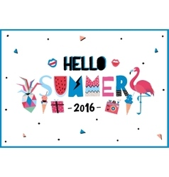 Cute hello summer poster vector