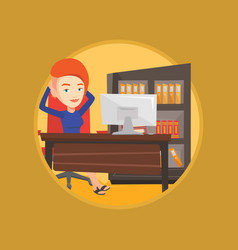 business woman relaxing in office vector image