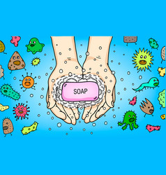 Cleaning washing hands poster flyer vector