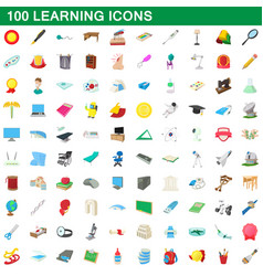 100 learning icons set cartoon style vector
