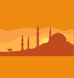 Panorama minarets and sunset sky with camel vector