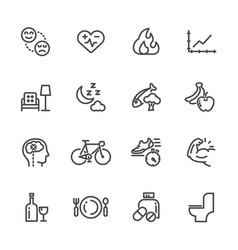 Healthcare and healthy lifestyle icons set line vector