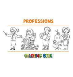 Womans profession coloring book set vector