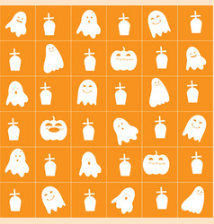 Halloween background with cute cartoon ghost vector