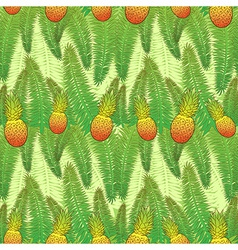 Seamless green pattern with palm leaves and vector