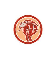 Cobra viper snake head circle retro vector