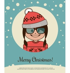Holiday card with hipster girl in red canta claus vector