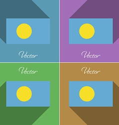 Flags palau set of colors flat design and long vector
