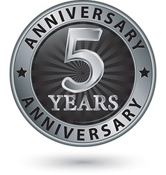 5 years anniversary silver label vector