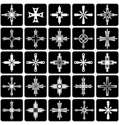 Icons with crosses design vector