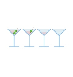 Set of light pink martini alcohol coctail vector image