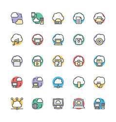 Cloud computing cool icons 1 vector