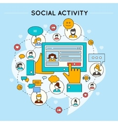 Social network activity design vector