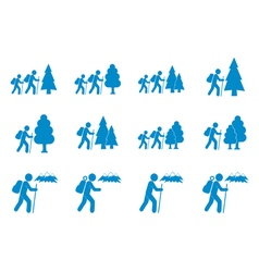 Set of backpacker icons vector