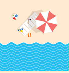 Beach stuff with deckchair and umbrella vector