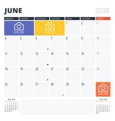 Calendar planner for june 2018 print design vector
