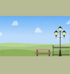 Chair and lamp on garden landscape vector