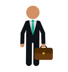 Character business man with suit portfolio vector