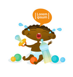 Cute african american baby boy cry hungry toddler vector