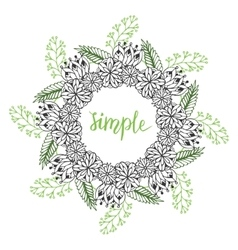 Cute floral frame doodle flowers pattern in vector