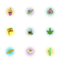 Drug icons set pop-art style vector